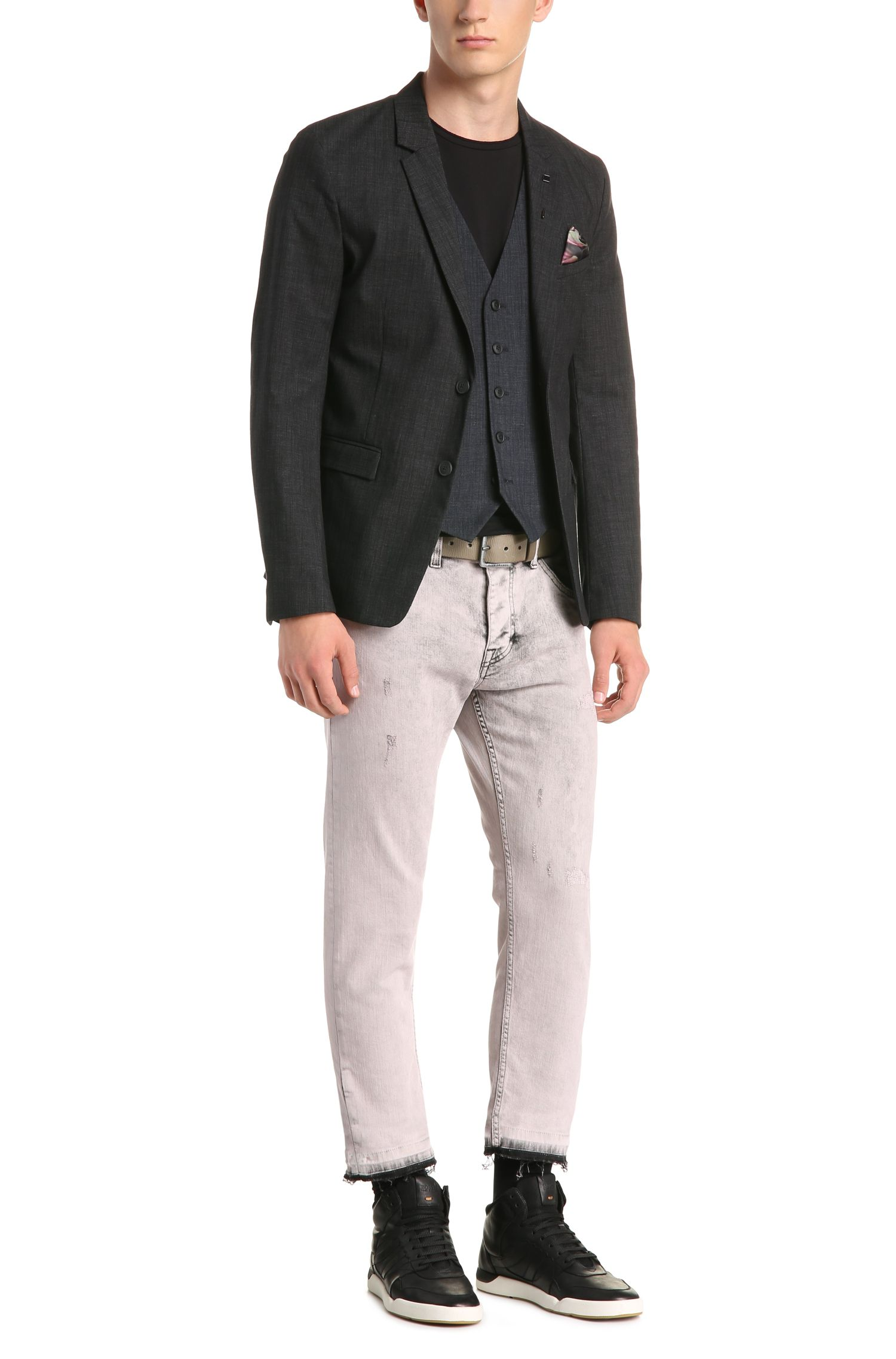 Stretch Cotton Blend Melange Waistcoast, Slim Fit | Bacer BS, Dark Blue