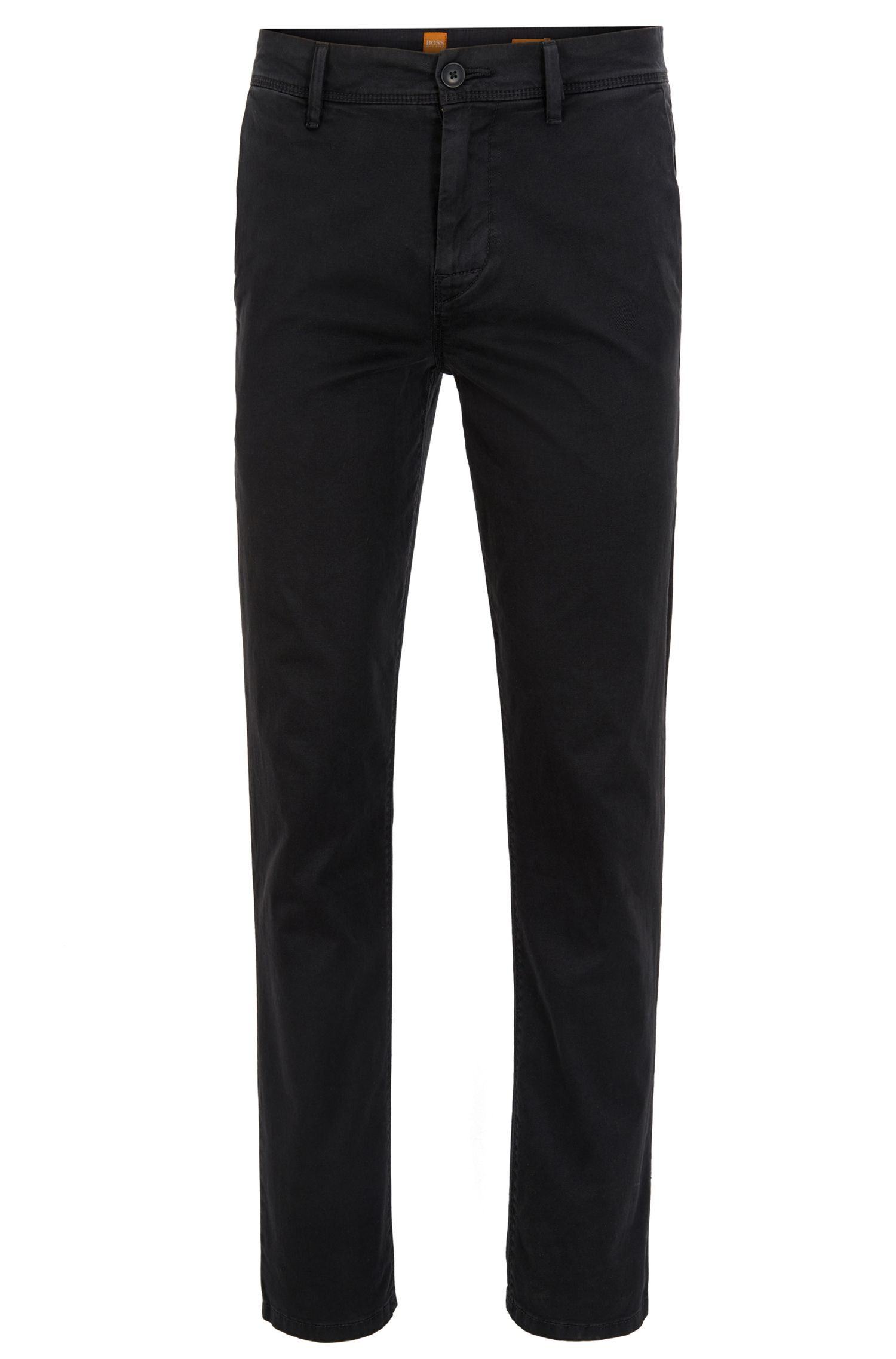 Stretch Cotton Chino Pants, Tapered Fit | Schino Tapered D, Black