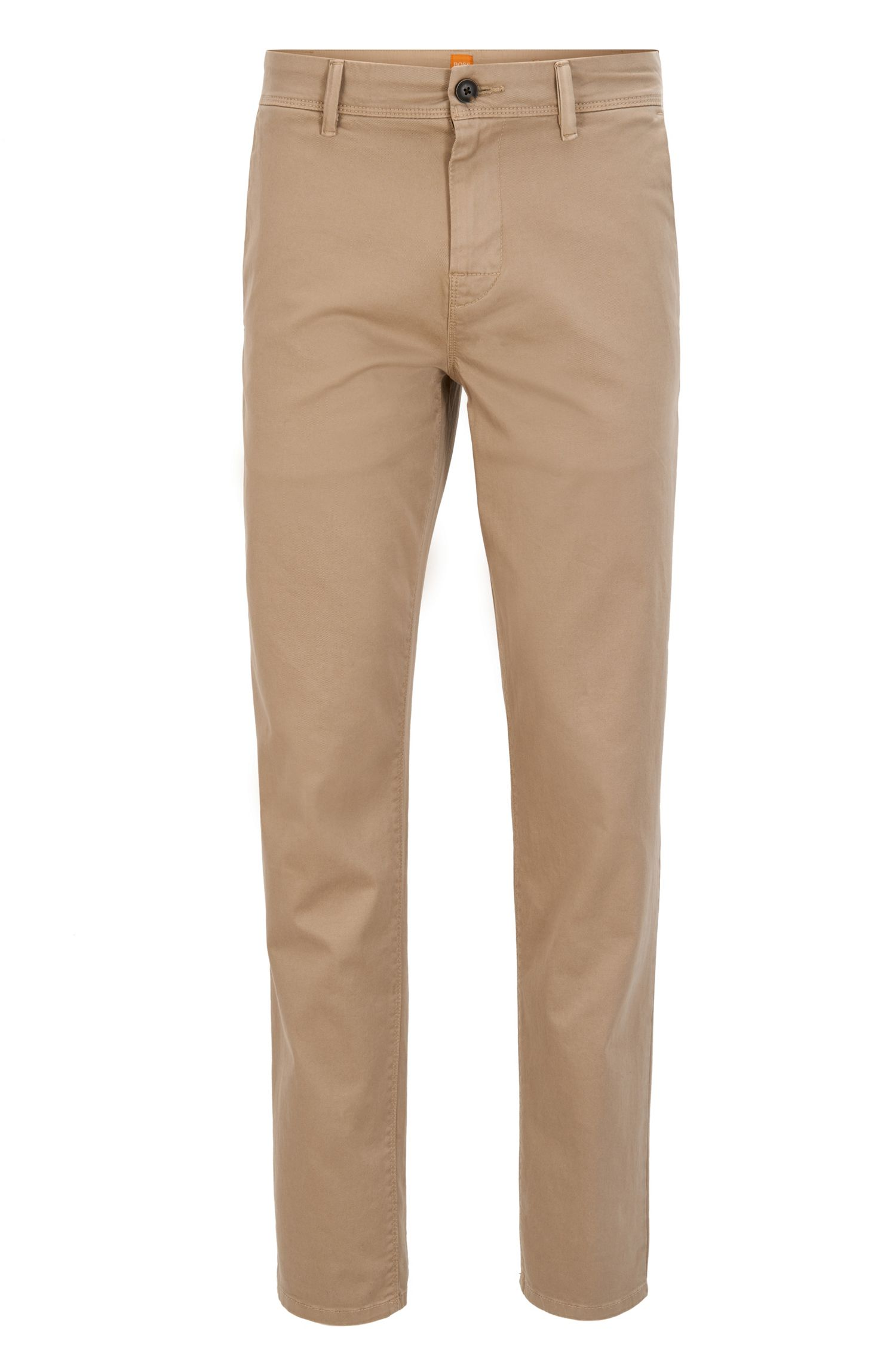 Stretch Cotton Chino Pants, Tapered Fit | Schino Tapered D, Beige