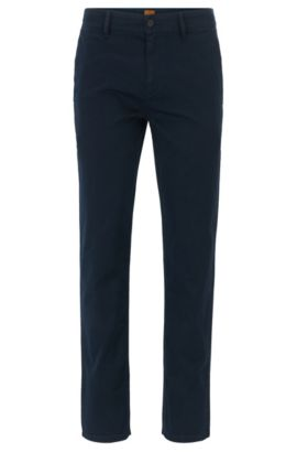 Stretch Cotton Chino Pants, Tapered Fit   Schino Tapered D, Dark Blue