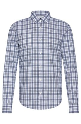 'Reid' | Slim Fit, Cotton Check Button Down Shirt, Dark Blue