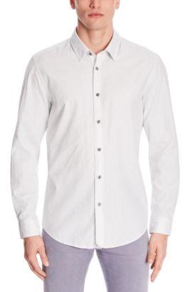 Embroidered Cotton Button Down Shirt, Regular Fit | Lukas, Light Grey