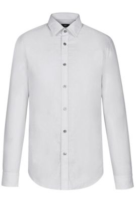 Embroidered Cotton Button Down Shirt, Regular Fit | Lukas, Light Grey