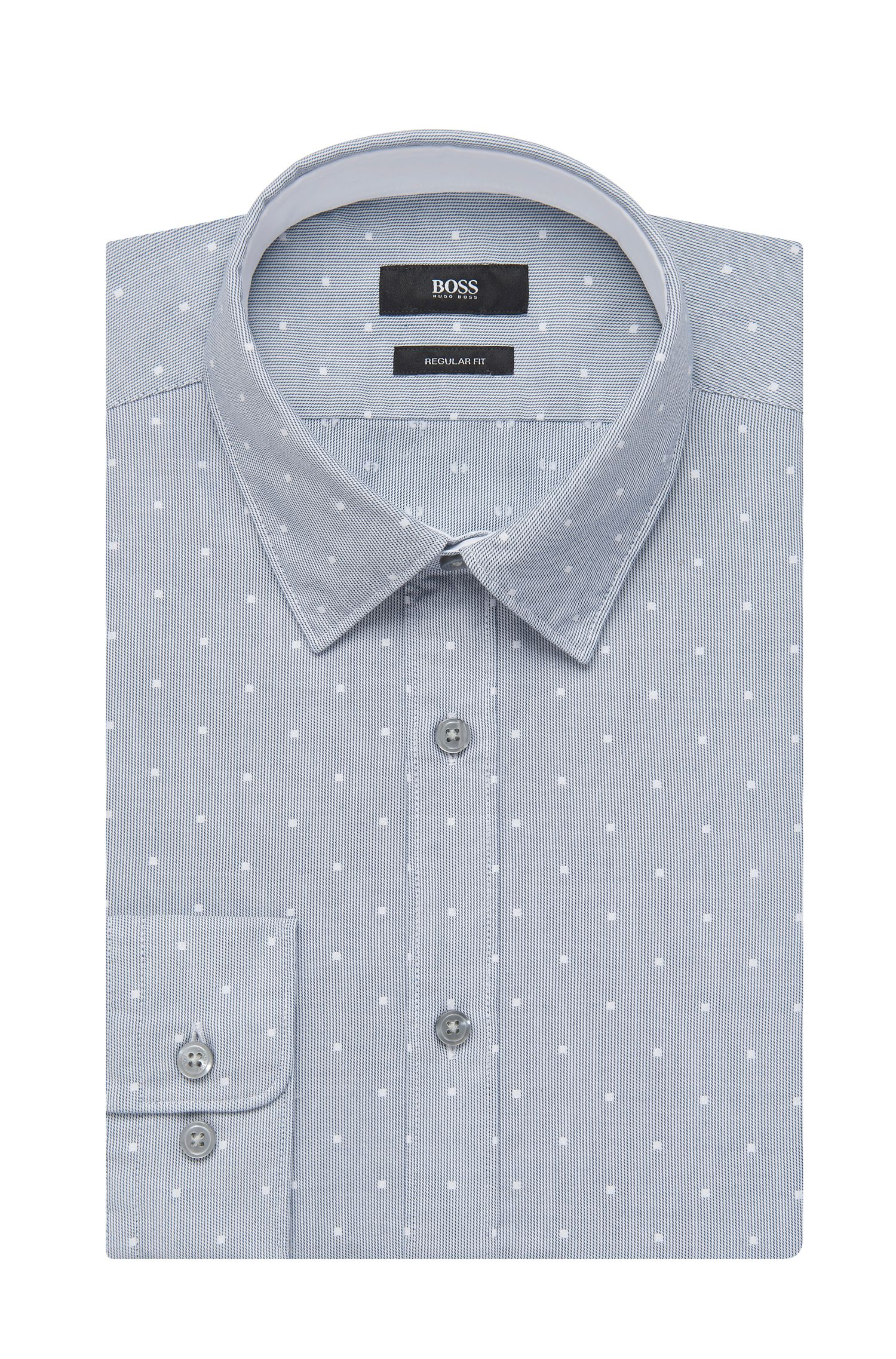 Embroidered Cotton Button Down Shirt, Regular Fit   Lukas