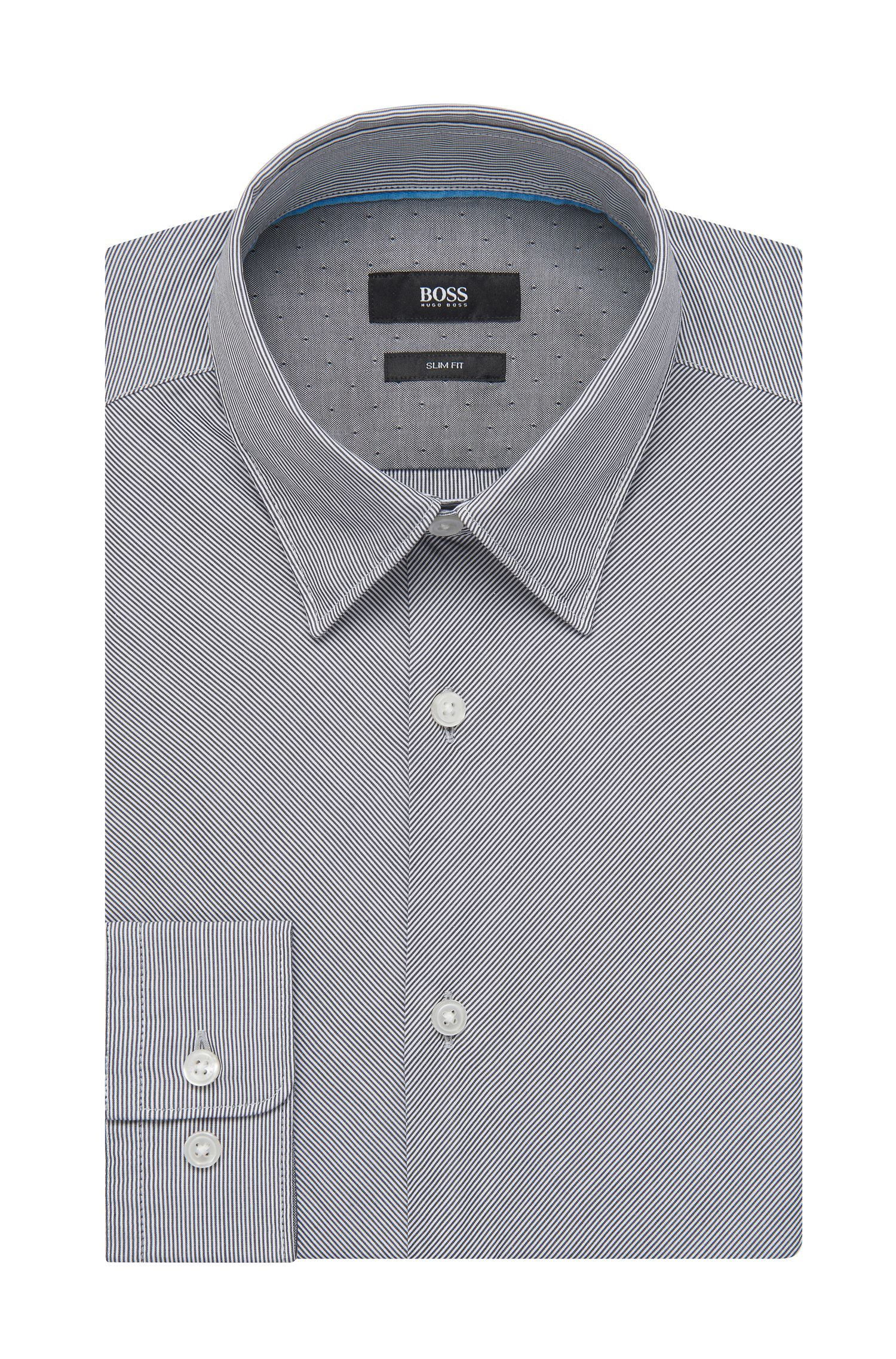 Striped Cotton Button Down Shirt, Slim Fit   Rodney