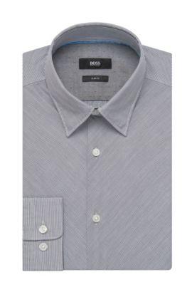 Striped Cotton Button Down Shirt, Slim Fit | Rodney, Dark Blue