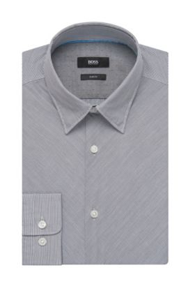 Striped Cotton Button Down Shirt, Slim Fit | Rodney, Dark Blue