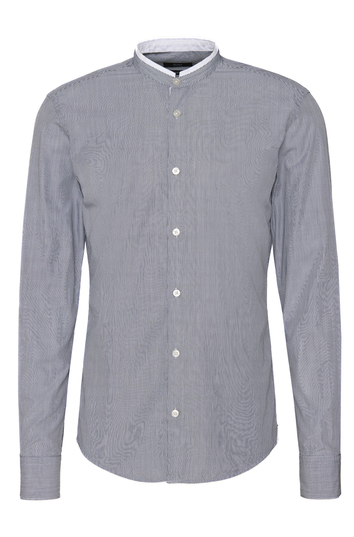 'Rab F' | Slim Fit, Cotton Pinstriped Button Down Shirt
