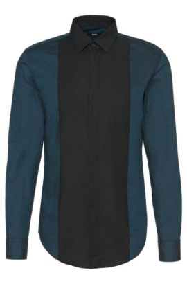 'Ronni H' | Slim Fit, Cotton Button Down Shirt, Turquoise