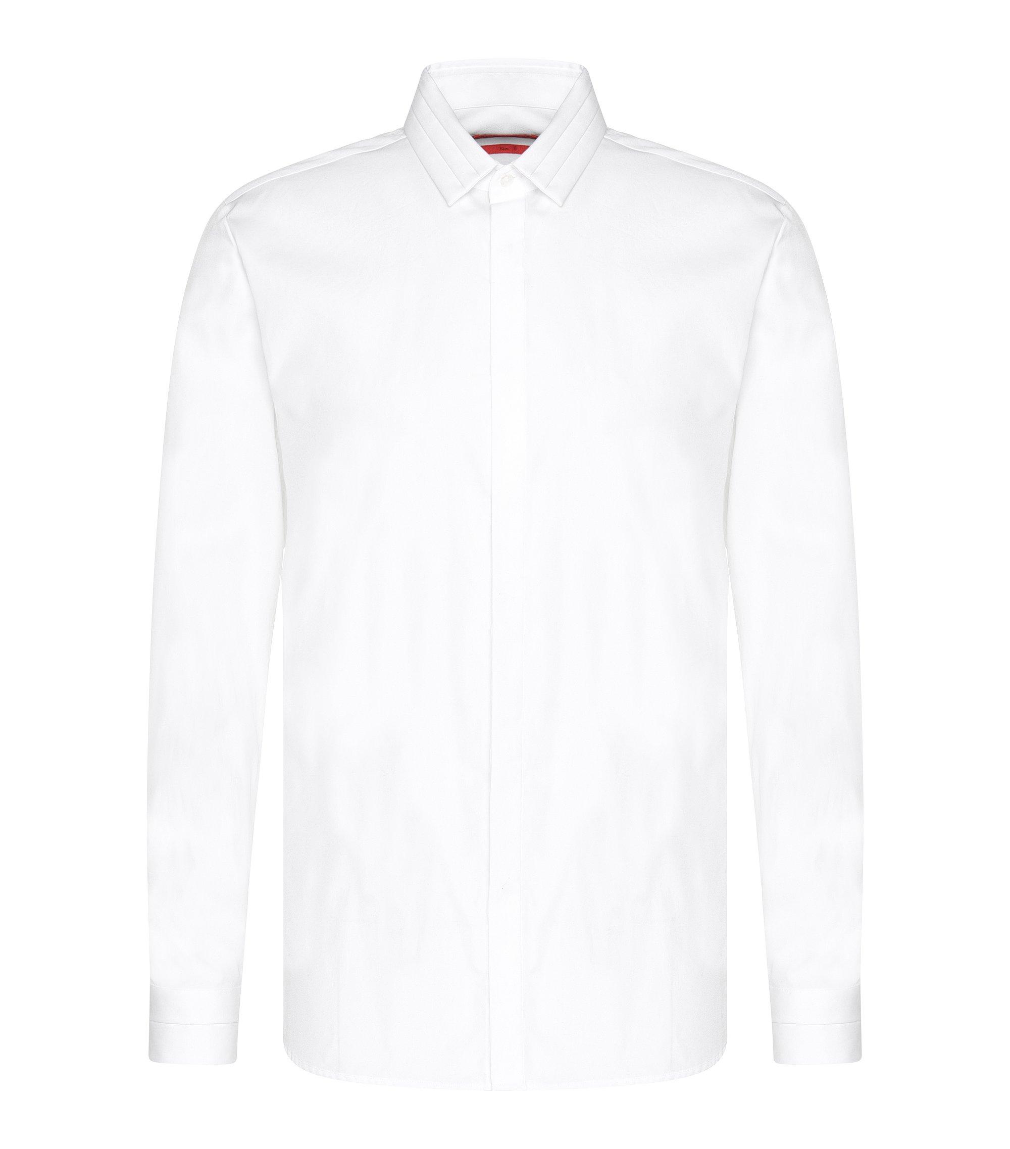 'Esid' | Slim Fit, Cotton Button Down Shirt, Open White
