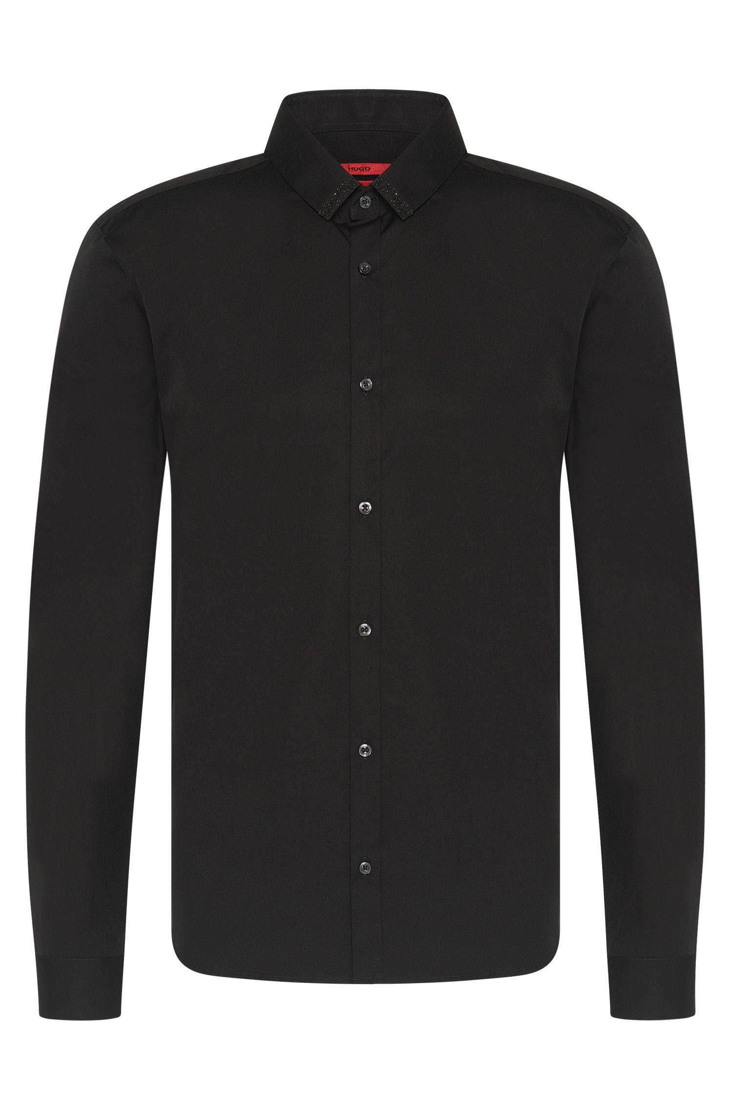 'Ero'   Slim Fit, Stretch Cotton Swarovski Button Down Shirt