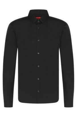 'Ero'   Slim Fit, Stretch Cotton Swarovski Button Down Shirt, Black