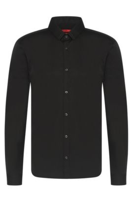 'Ero' | Slim Fit, Stretch Cotton Swarovski Button Down Shirt, Black