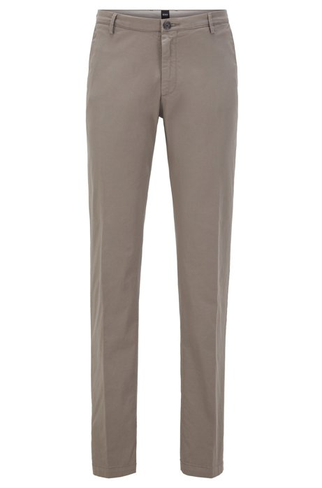 Slim-fit chinos in stretch cotton gabardine, Open Grey
