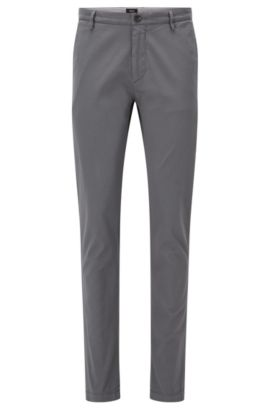 'Rice D' | Slim Fit, Cotton Stretch Chino Pants, Open Grey