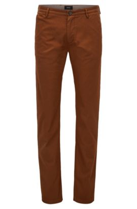 Cotton Stretch Chino Pants, Slim Fit | Rice D, Brown