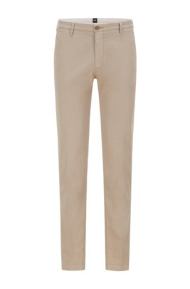 Slim-fit chinos in stretch cotton gabardine, Light Beige