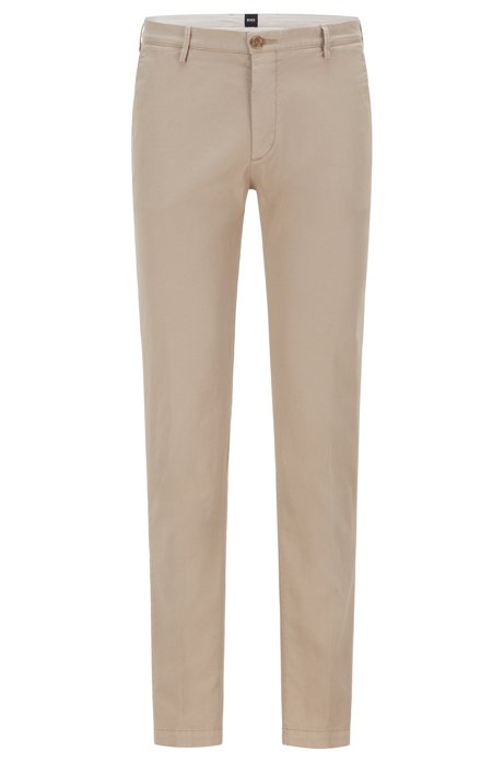 Slim-fit chinos in stretch cotton gabardine, Open Beige