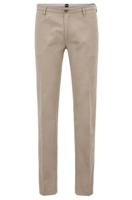 'Rice D' | Slim Fit, Cotton Stretch Chino Pants, Open Beige