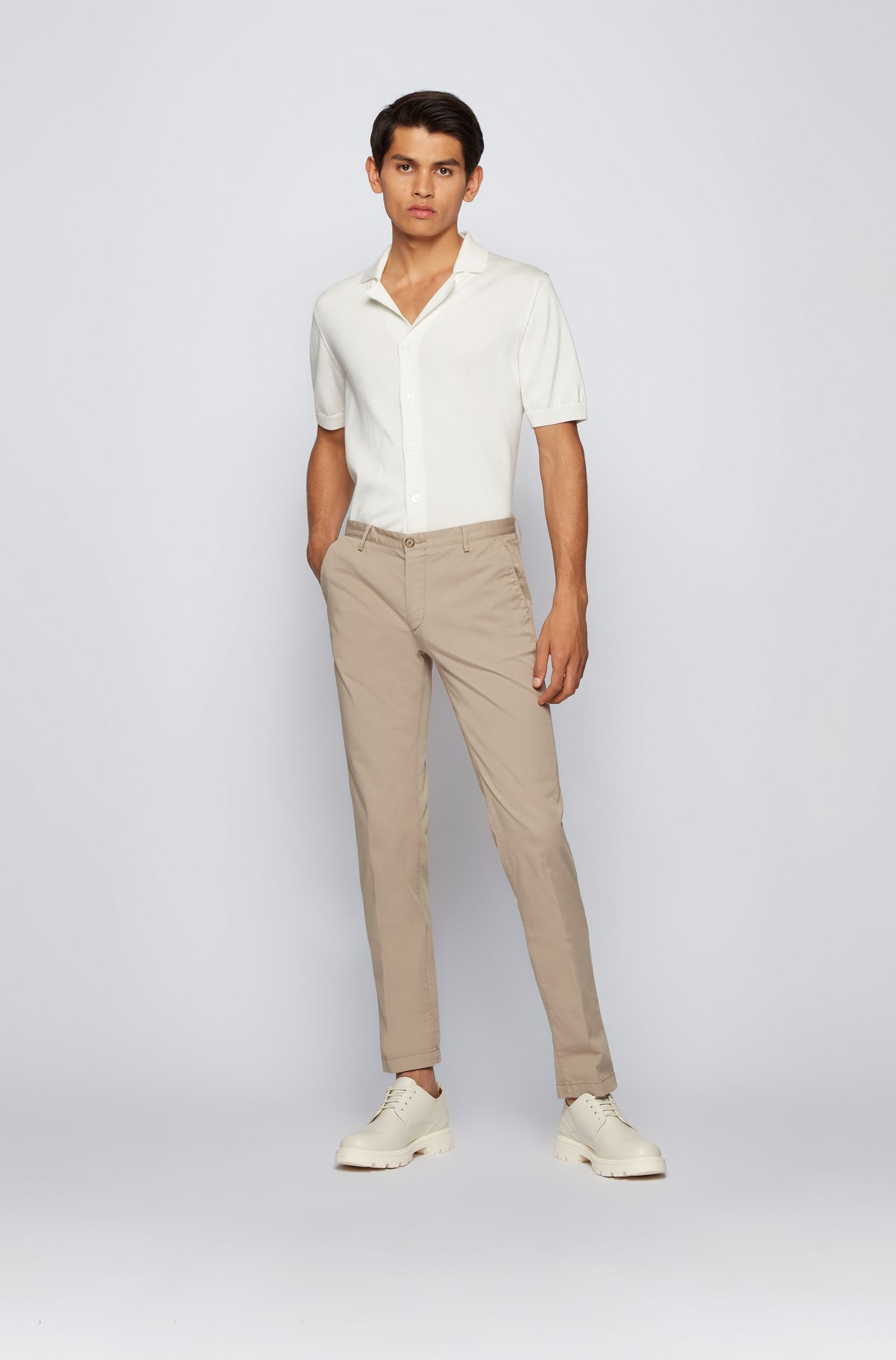 Cotton Stretch Chino Pant, Slim Fit   Rice D, Open Beige
