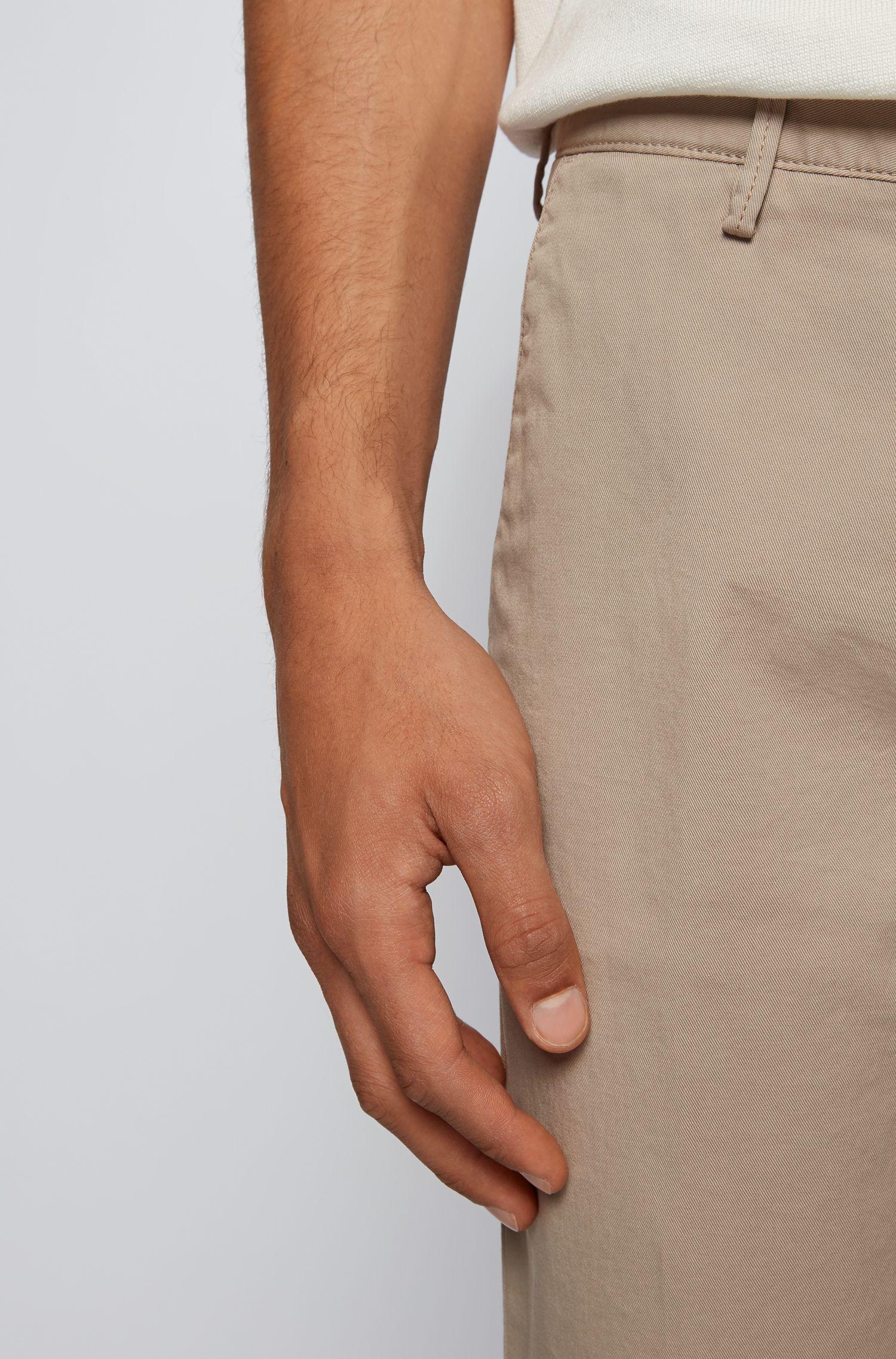 Slim-fit chinos in stretch cotton gabardine, Open Beige