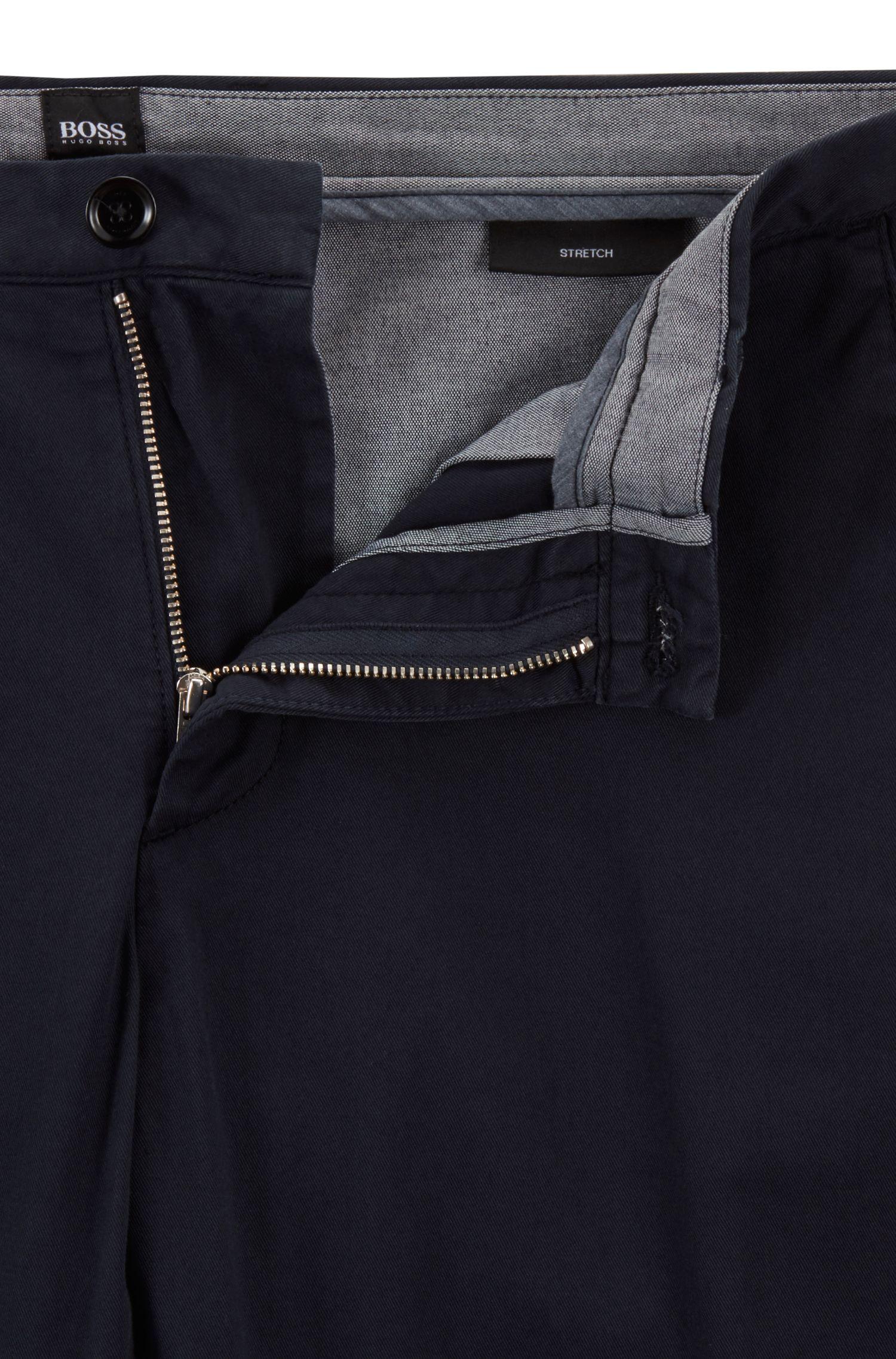 Slim-fit chinos in stretch cotton gabardine, Dark Blue