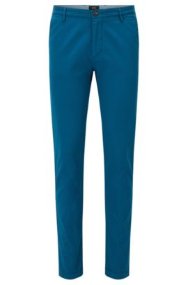 Cotton Stretch Chino Pants, Slim Fit | Rice D, Turquoise
