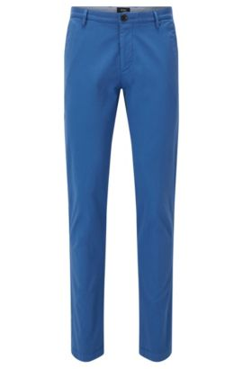 'Rice D' | Slim Fit, Cotton Stretch Chino Pants, Open Blue