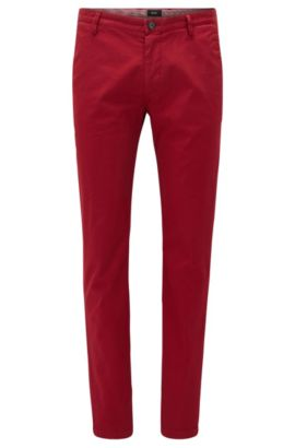 Cotton Stretch Chino Pants, Slim Fit | Rice D, Red