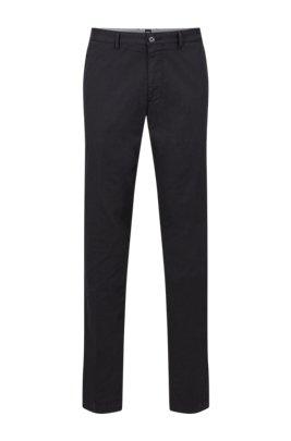 Regular-fit chinos in stretch cotton gabardine, Black