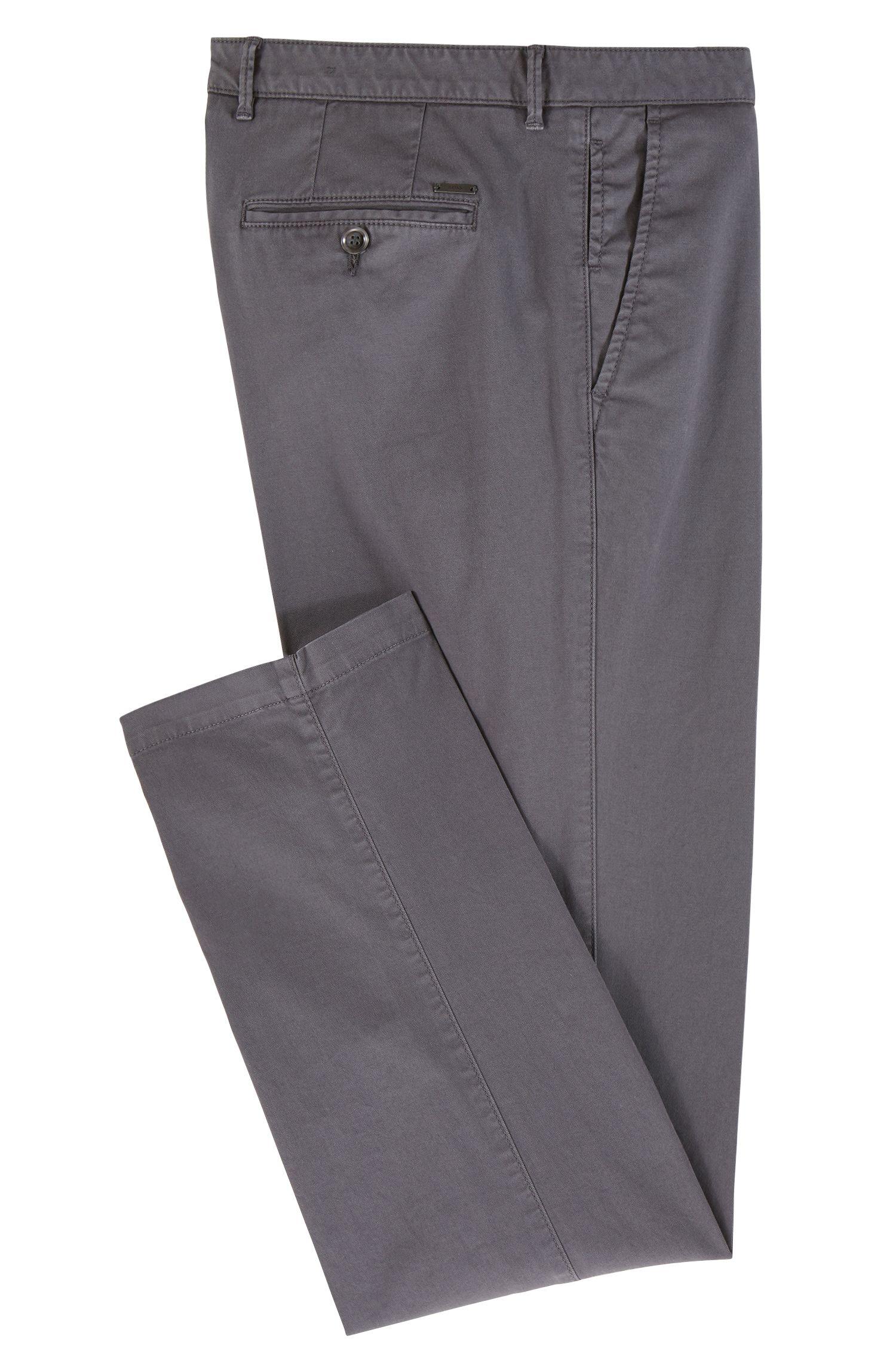 Regular-fit chinos in stretch cotton gabardine, Open Grey