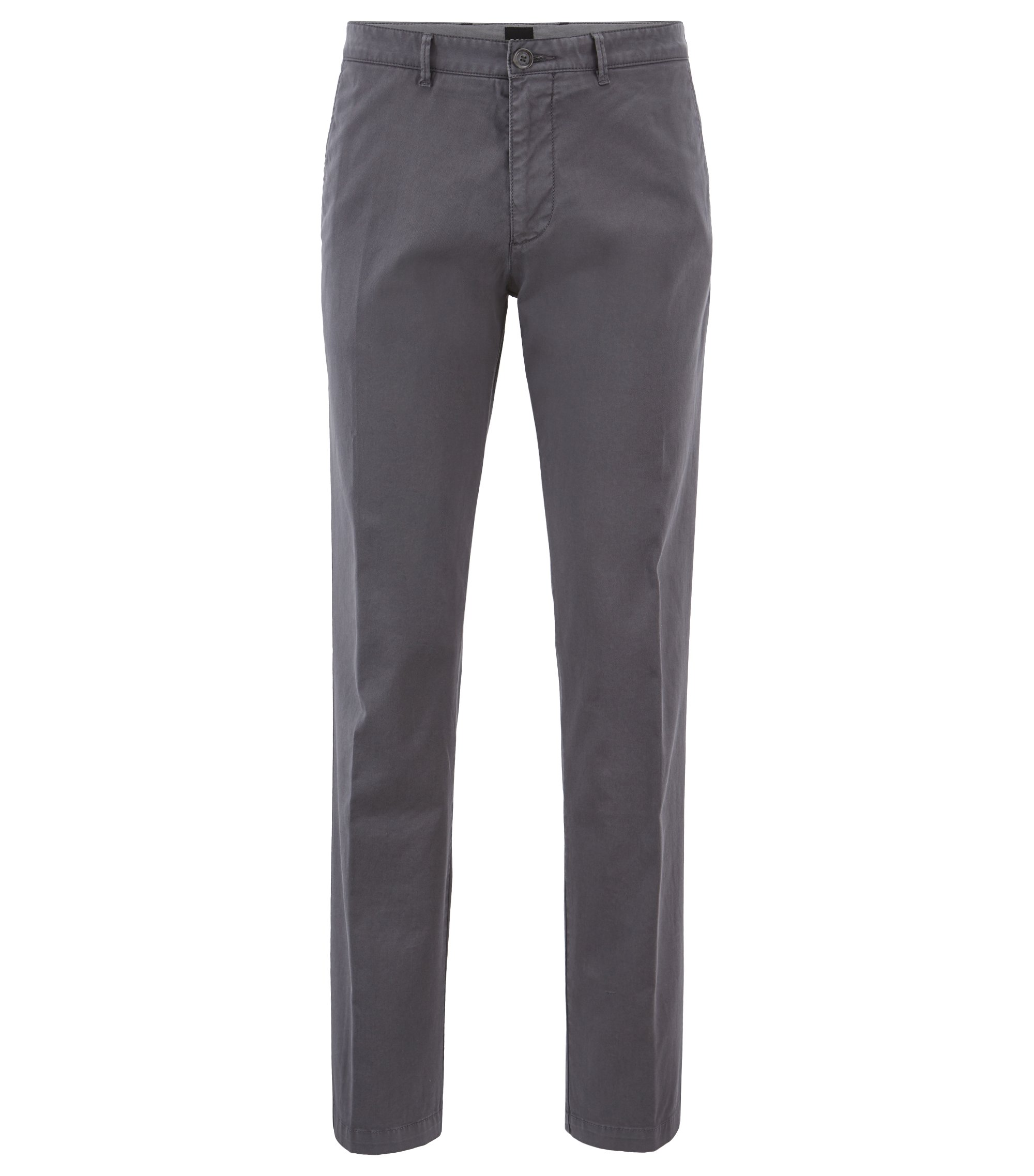 Regular-fit chinos in stretch cotton gabardine, Open Grey