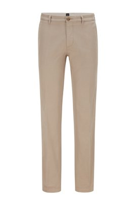 Regular-fit chinos in stretch cotton gabardine, Light Beige