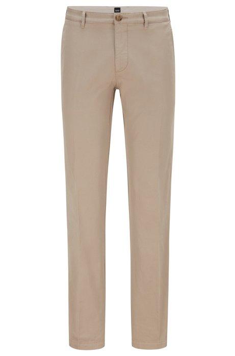 Regular-fit chinos in stretch cotton gabardine, Open Beige
