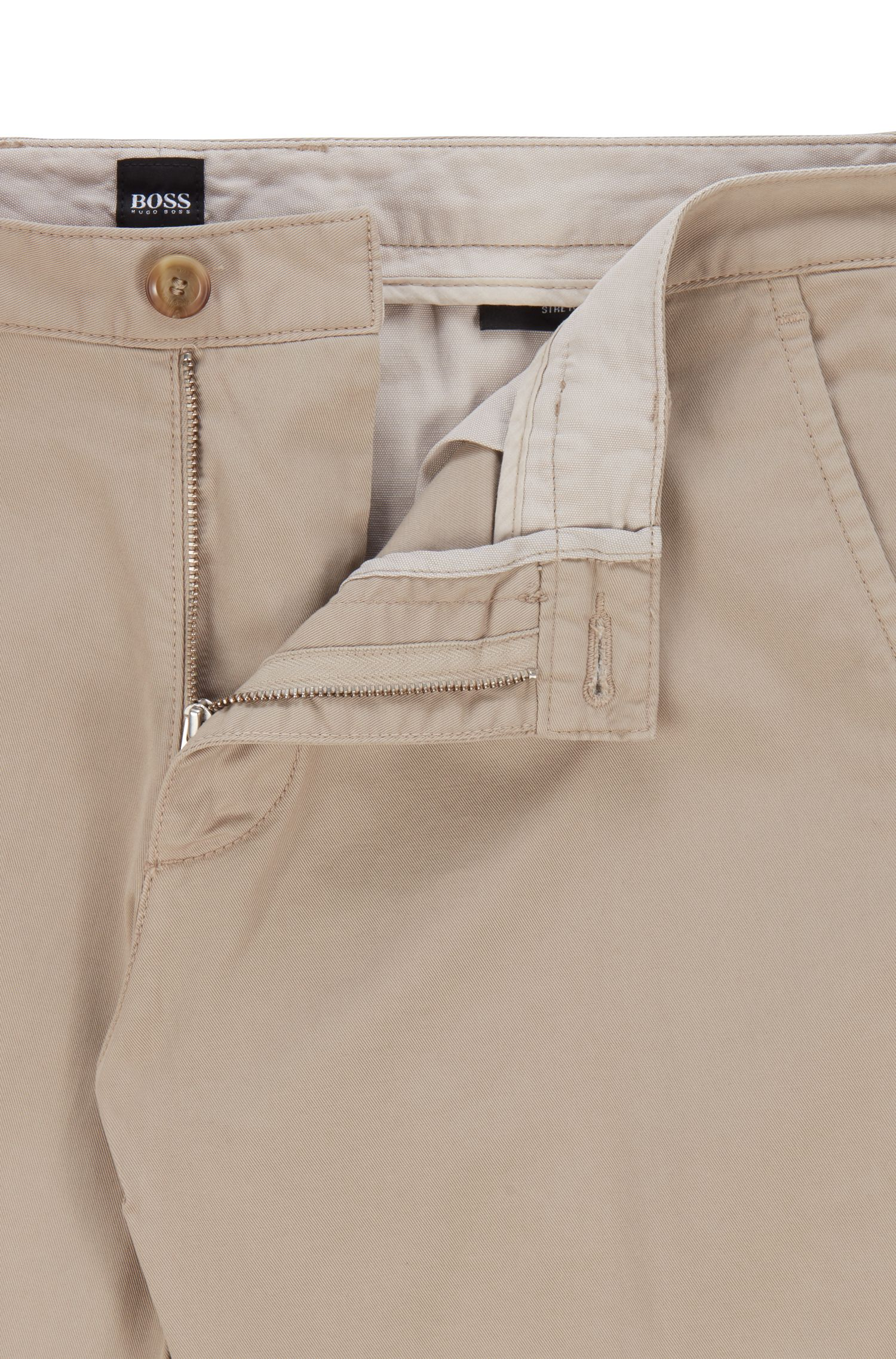 Regular-fit chinos in stretch cotton gabardine, Open Beige