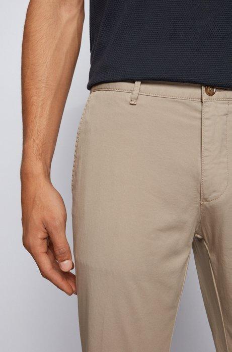 Regular-fit chinos in stretch cotton gabardine, Light Beige