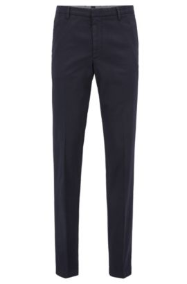 'Kaito W' | Slim Fit, Stretch Gabardine Chino Pants, Dark Blue