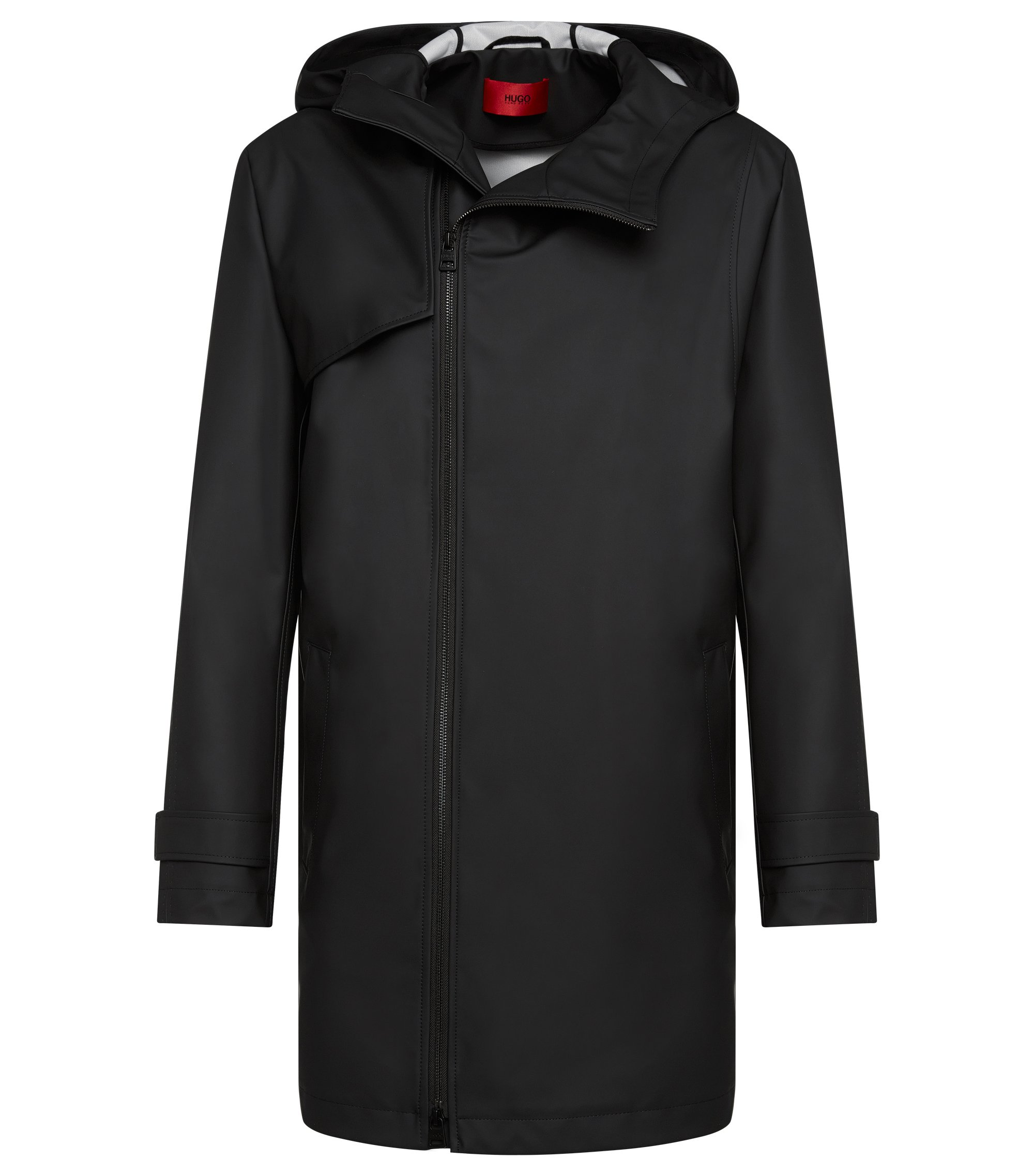 Water Repellent Hooded Rain Coat | Menoz, Black