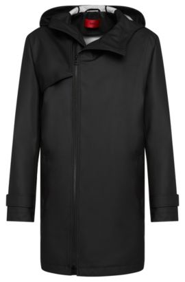 'Menoz' | Water Repellent Hooded Rain Coat, Black
