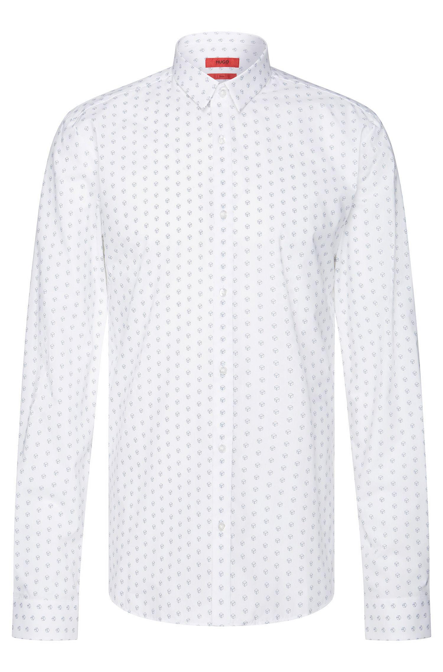 'Ero' | Slim Fit, Stretch Cotton Dice Button Down Shirt
