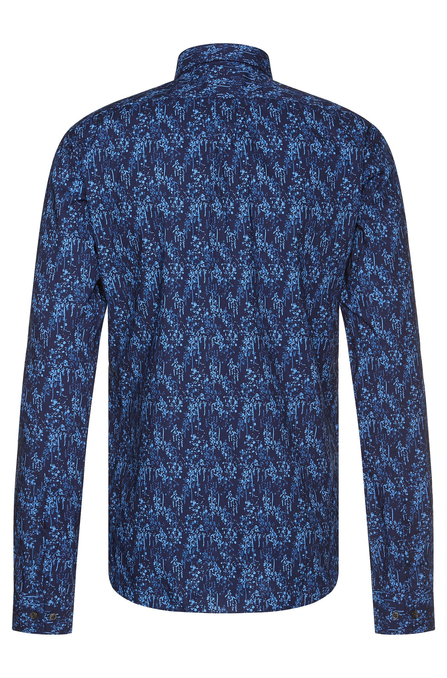 Stretch Cotton Printed Button Down Shirt, Slim Fit | Ero