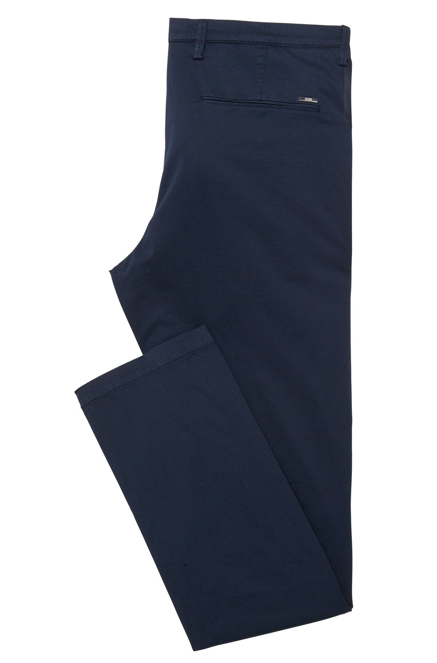 Stretch Cotton Gabardine Printed Pant, Slim Fit | Rice D, Dark Blue