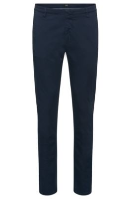 Stretch Cotton Gabardine Printed Pant, Slim Fit   Rice D, Dark Blue