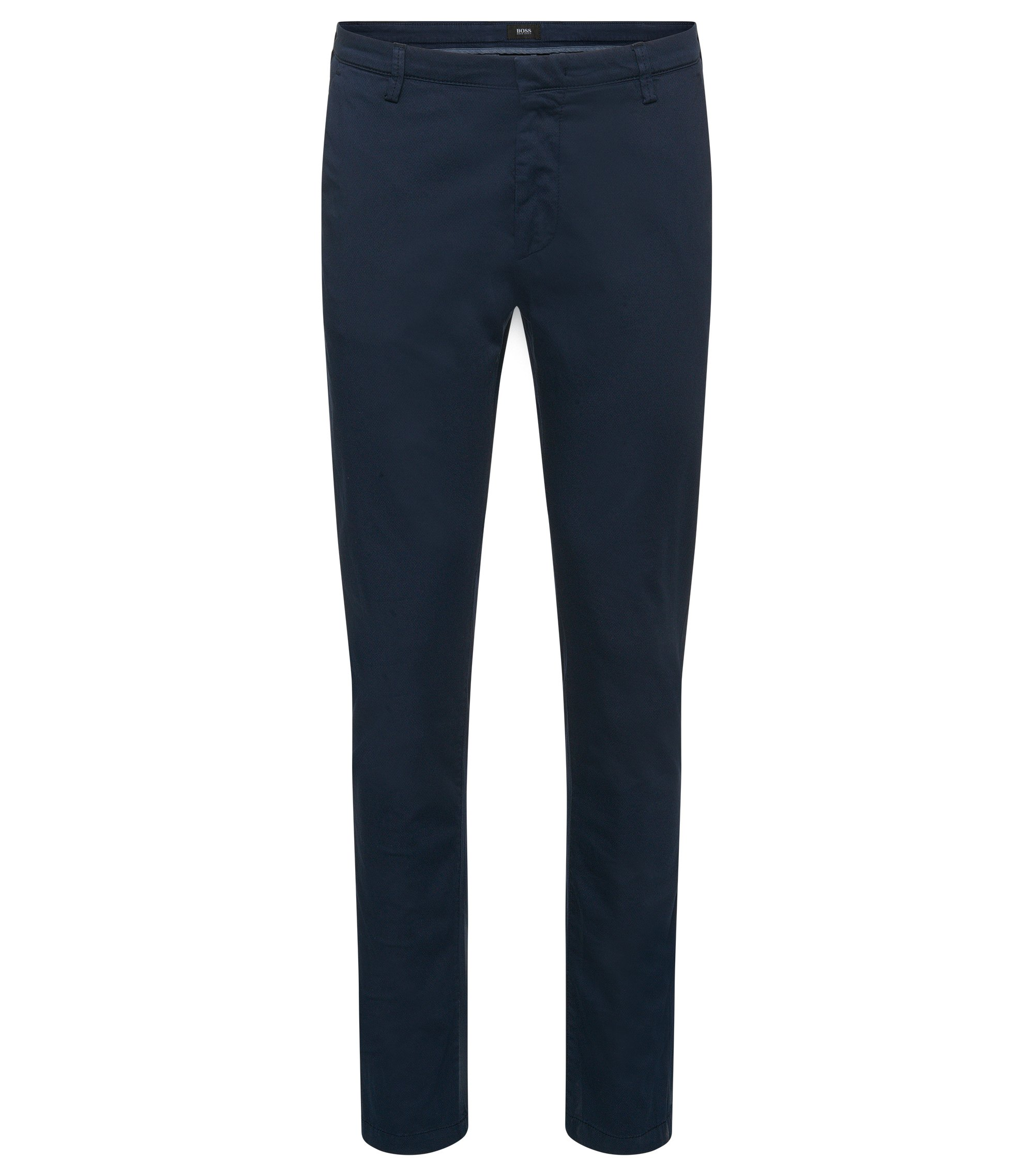 Stretch Cotton Gabardine Printed Pant, Slim Fit | Rice D, Dark Blue