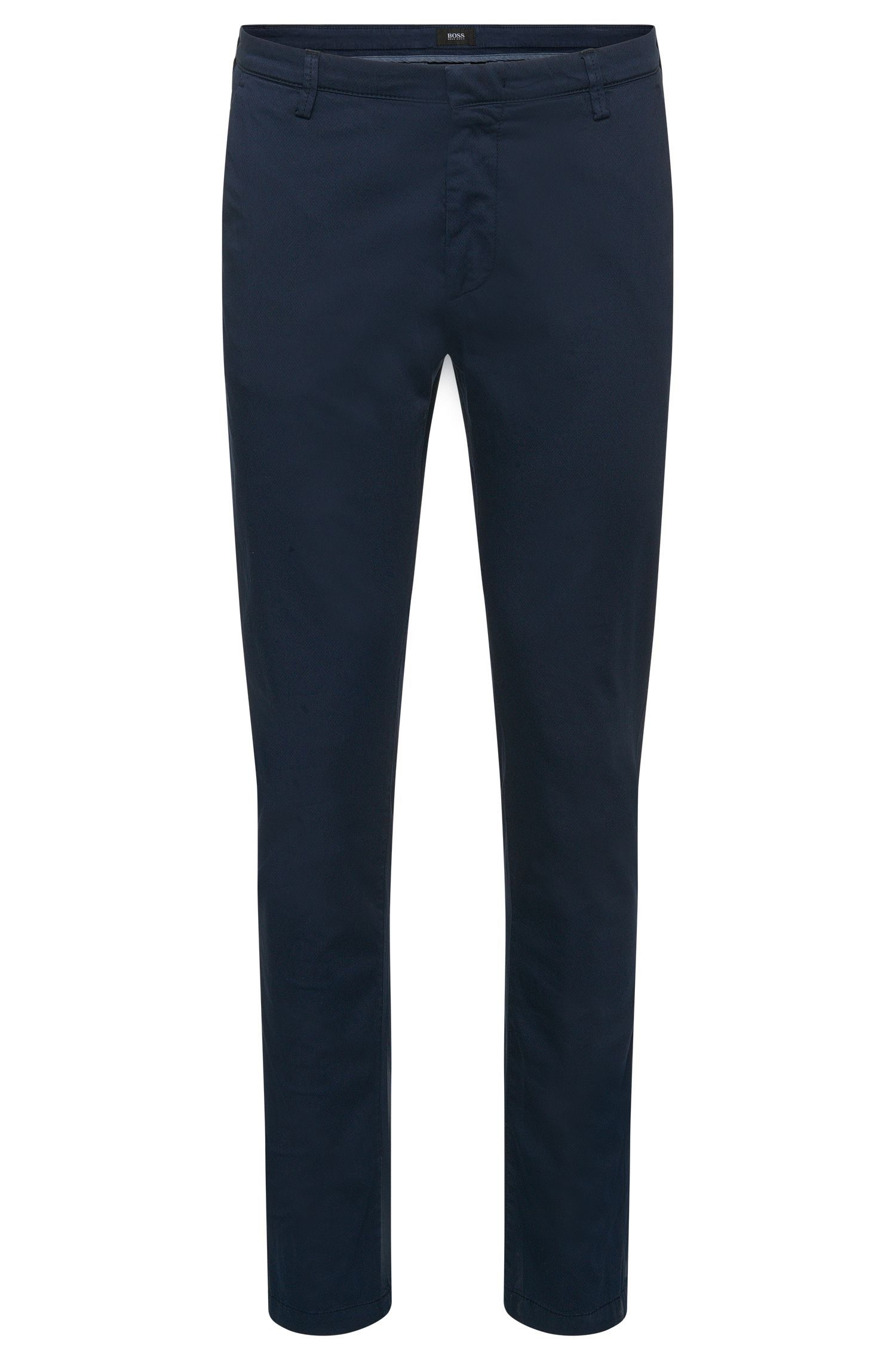 'Rice-D' | Slim Fit, Stretch Cotton Gabardine Printed Trousers