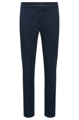 'Rice-D' | Slim Fit, Stretch Cotton Gabardine Printed Trousers, Dark Blue