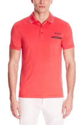 Moisture Manager Stretch Cotton Blend Polo Shirt, Slim Fit | Paule Pro, Open Red