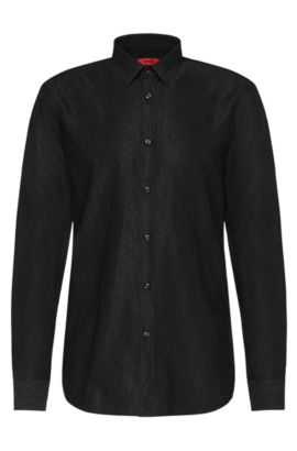 'Elisha' | Extra Slim Fit, Cotton Blend Textured Button Down Shirt, Black