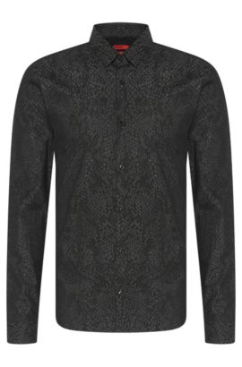 'Ero' | Slim Fit, Stretch Cotton Button Down Shirt, Black