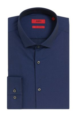 Dobby Cotton Dress Shirt, Slim Fit | Erondo  , Dark Blue